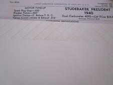 ORIGINAL 1940 Studebaker PRESIDENT Carter Carbureter Spec