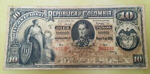 EMERGENCY ISSUE 10 PESOS MARCH 04. 1895 NATIONAL BANK OF COLOMBIA PICK #236