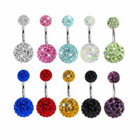 DR7 EG_ Navel Belly Button Ring Barbell Rhinestone Crystal Ball Piercing Body Je