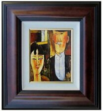 Framed Modigliani's Bride and Groom Repro, Hand Painted Oil Painting, 8x10in