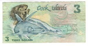 COOK ISLANDS $3 Dollars VF COMMEMORATIVE Banknote (1992) P-3 Prefix ABB