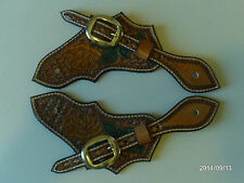 AW LEATHER GOODS HAND MADE YELLOW ROSE CARVED SPUR STRAPS WITH SILVER BUCKLES