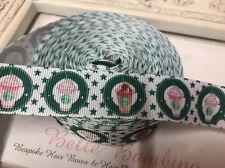 New 1 Metre Starbucks White Print Grosgrain Ribbon Designer 22mm Cakes Bow Dummy