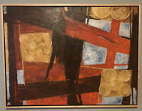 Robinson Murray VTG Mid-Century Expressionist Geometric Oil Painting 1968 40x30