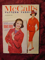 RARE McCALLS Pattern Fashions Magazine Fall Winter 1960 With BONUS BOOK