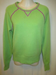 White + Warren 100% cashmere Green Purple Trim Neck Sweater M