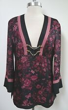 GUCCI black burgundy floral butterfly print silk tunic top bamboo detail size 44
