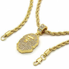 "14k Gold Plated Custom Iced Out Hip Hop Bling Cz Ape Pendant with 24"" Rope Chain"