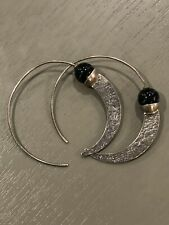 "Silpada ""Comet Tail"" Oxidized Sterling Silver Chalcedony Earrings W1874 Modern"