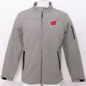 NEW Wisconsin Badgers Colosseum Dale Full Zip Gray Softshell Jacket Men's L