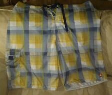 Quiksilver Men Swim Trunks Shorts 36 Polyester Yellow Green Blue Plaid Not Mesh