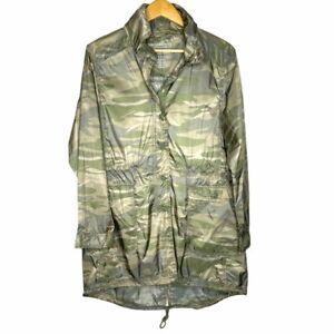 American Eagle Cinch Waist Parka Camouflage Womens M Zip Up Hood Windbreaker NWT