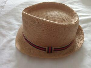 Trilby Summer Straw Hat Designer Inspired 57cm stripped ribbon band