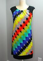 London Times Womens Dress Black and Multi-colored Sleeveless Size 4
