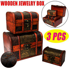 3Pc Wooden Jewellery Necklace Treasure Box Storage Chest Case Display Oraganizer