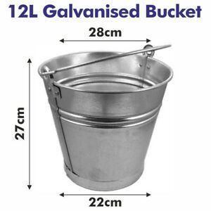 12L TRADITIONAL GALVANISED STRONG STEEL METAL SMALL BUCKET WITH HANDLE PLANTER