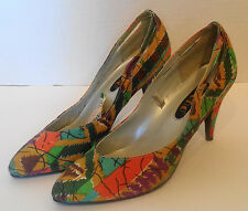 NOS Vintage Multi Colored Fabric Soho High Heel Shoes 7
