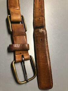 Vintage Levis Belt Leather Mens Made USA size 38 Light Brown Distressed brass