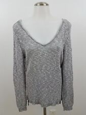 olive & oak stitch fix M gray white sweater heather hi low v-neck long sleeve
