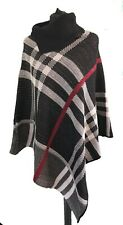 BLACK WHITE RED CHECK PONCHO CARDIGAN - One Size Fits All