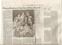 Florence Henderson 82 Obituary New York Times Brady Bunch Actress 1969