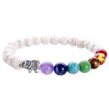 7Chakra Healing Balance Elephant White Turquoise Beaded Yoga Prayer Bracelet