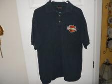 Harley Davidson Logo Bar & Shield Men's Black Embroidered Polo Golf Shirt  Sz L