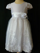 GIRLS WHITE ROSE EMBROIDERED FLOWER WEDDING PARTY DRESS AGE 8 - 9 YEARS UK NEW