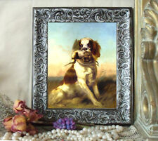 Spaniel w Woodcock Dog Art Print Antique Style Framed 11X13 Horse Picture