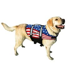 Pawz Pet Products Nylon Dog Life Jacket American Flag with Quick Lift Handle