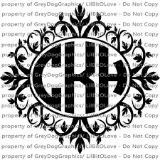 Custom Yeti Sized Ornamental Oval Monogram Vinyl Decal 3 Initials Sticker