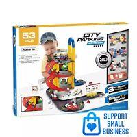 DIY 3 Level City Car Park Toy Garage Petrol Station Play Set + 4 Cars Vehicles