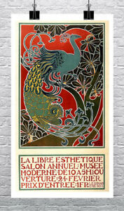 Free Aesthetic 1898 Art Nouveau Peacock Poster Canvas Giclee Print 17x28 Inches