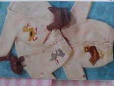 "Knitting Pattern Baby Girl Boy Cardigan Rabbit Duck Chicken DK 20-23"" Vintage"