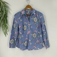 Talbots Womens Popover Shirt Size Large Petite Blue Floral Top Long Sleeve Woven