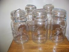 5 vintage Ball Ideal wire bail glass quart canning jars