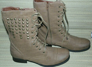 WOMENS SPOT ON TAN LACE UP/ZIP SYNTHETIC LOWER CALF COMBAT BOOTS BNIB MIX SIZES