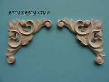 Decorative wooden scroll corners pair furniture moulding appliques onlay CC61