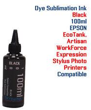 Dye Sublimation Ink - Black 100ml All Epson WorkForce  EcoTank Stylus Artisan