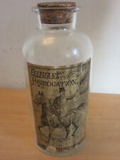 """Antique Apocathary Bottle 10.25"""" """"Ellimans Universal Embrocation"""" with great lab"""