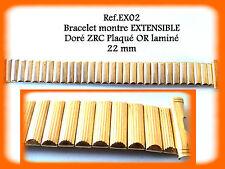 BRACELET MONTRE EXTENSIBLE DORÉ MARQUE ZRC PLAQUÉ OR LAMINÉ 22 mm REF.EX02