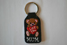"""LOVE YOU MUM"" EMBROIDERY KEYRING EMBROIDERED PATCH BADGE KEY CHAIN CHROME RINGS"