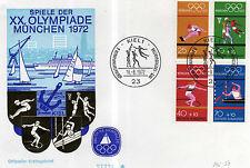FDC BRD Olympiamarken H-Blatt 22 Ersttagsst. Kiel Olympische Spiele München 1972