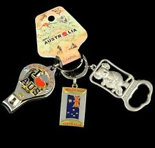 3 x Australia Souvenir Metal Key Ring Koala Flag Bottle Opener Nail Clippers Map