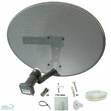 Sky MK4 Zone 1 Satellite Dish & Quad Lnb + 10m White Twin Cable Kit ! Freesat HD