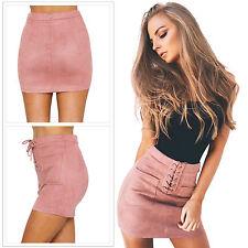 Women's Sexy Bandage Bodycon Pencil Skirt Clubwear Tight Mini Skirt Plain Dress