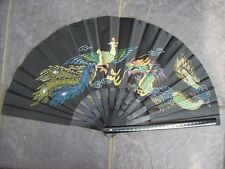 Bamboo Fan Chinese Kung Fu Tai Chi Dragon and Phoenix  Facher, Eventail