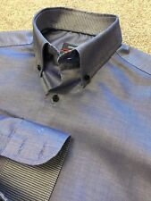 ETERNA DYNAMIC COTTON BLUE SHARK SKIN SHIRT INNER GINGHAM DETAIL 15.5   15 1/2""