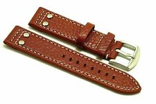20mm Brown Rivet Style Buffalo-Grain Leather Replacement Watch Band - Victorinox