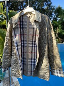 Authentic Burberry London Nova Check Quilted Gold Snap Button Rare Jacket Medium